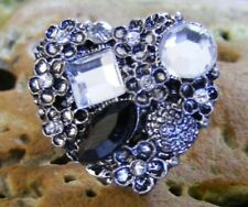 Heart Antique Silver Clear Black Rhinestones Flowers Ring  Fun Party Fancy Dress