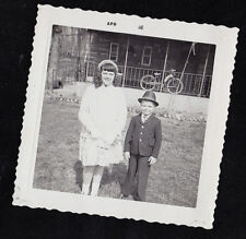 Antique Vintage Photograph Young Boy & Girl Dressed Up - Cool Hat - Bicycle Bike