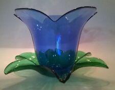Studio Nova Votive Candle Holder Italy Blue Flower & Green Leaves Clear Glass