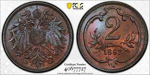 1897 MS66 BN Austria Toned 2 Heller UNC KM 2801 PCGS Franz Joseph I