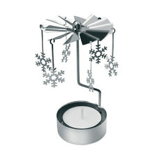 Snowflake Rotary Spinning Carousel Tea Light Christmas Gift Candle Holder Decor