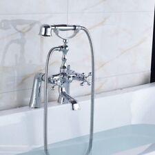 Bathroom Chrome Deck Mounted Clawfoot Tub Filler Faucet Handshower etf013