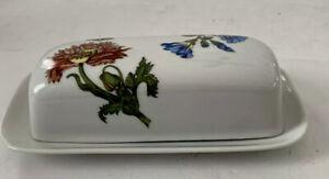 """BIA Porcelain Cordon Bleu Butter Dish Pink & Blue Flowers Butterfly 8"""" X 2"""""""