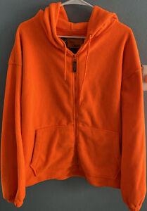Trail crest Men's Safety Blaze Orange Full Zip Fleece Hoodie Size 2XL