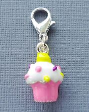 Pink CUPCAKE Clip On Charm Lobster Clasp for Link Chain and floating locket C49