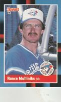 FREE SHIPPING-MINT-1988 Donruss Toronto Blue Jays Baseball  #197 Rance Mulliniks