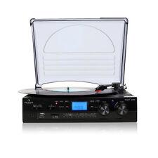Auna Tt-186e Pro Home Stereo Record Player FM Radio USB SD Inputs Mp3 Recording