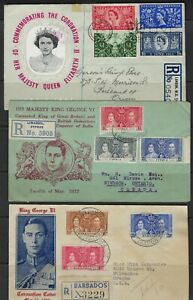 CYPRUS BARBADOS UK 1937 TWO REGISTERED FDC OF KING GEORGE VI