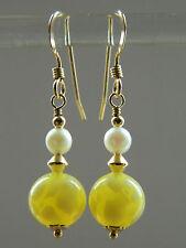 Art Deco Murano Yellow Uranium Glass, Cultured Pearls & 14K Rolled Gold Earrings