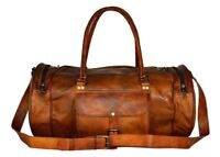 "24"" Hiking Vintage Brown Genuine Leather Men's Travel Duffel Gents Luggage Bag"