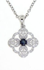 Real Diamond 14K White Gold 0.21CT Blue Sapphire Gemstone Clover Style Pendant
