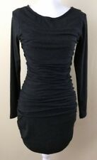 Lola & Sophie Charcoal Gray Scoop Neck Long Sleeve Sweater Dress Bodycon Small