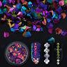 6 Boxes Holographic Chameleon Nail Art Laser Sequins Colorful Flakes 3D Decors