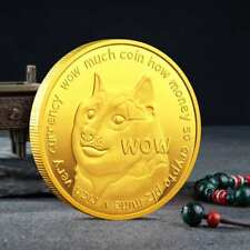 Dogecoin Crypto Coin Gold Plated Collectible Commemorative Coins
