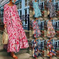 Damen Ladies Floral Kleid Beach Lang Dress Party Cocktailkleid Maxi Strandkleid