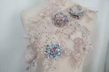 Brown 3D Flower Embroidery Beaded Pearl sequins Lace Applique Diy Wedding Dress