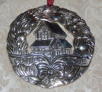 Gorham 2000 Our New Home Christmas Ornament Round Silver tone