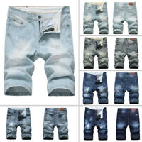 Men Straight Slim Denim Shorts Casual Distressed Ripped Half Jeans Pants Trouser