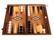 Walnut Wood Backgammon Set - Large Wooden Board - Black Board Game