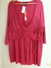 Women's so fabulous jersey  top 3/4 sleeves hot pink color size 24 BNWT