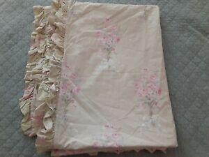 Simply Shabby Chic Rachel Ashwell GREEN BOUQUET Rose Ruffle TWIN Duvet Cover