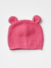 GAP Baby Girl Size Newborn Pink Bear / Animal Garter Knit Sweater Hat w/Ears