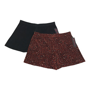 Womens Junior Pleated Shorts LARGE 11-13 Black & Cheetah Rust No Hem Sheer 2 Pc