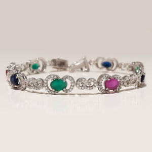 Natural Emerald Ruby Sapphire Tennis Bracelet 925Sterling Silver Wedding Jewelry