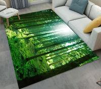 Spring Green Forest Morning Sunlight Area Rugs Bedroom Living Room Floor Mat Rug