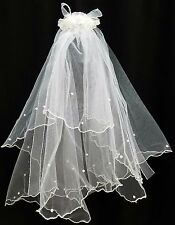 NEW Flower Girl #0638 White Faux Flower Pearl Tulle Holy Communion WEDDING Veil