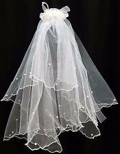 NEW Flower Girl #0638 White Faux Flower Pearl Tulle Holy Communion WEDDING Veil