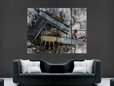 GUN AND KNIFE M1911 SEMI AUTOMATIC ART HUGE  LARGE PICTURE POSTER GIANT