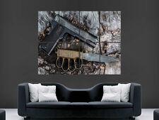 PISTOLA E COLTELLO M1911 SEMI AUTOMATICO ART enorme Grandi FOTO POSTER GIGANTE