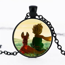 Wholesale Cabochon Glass Black  Chain Pendant Necklace,The Little Prince /144