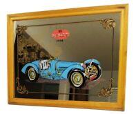 """Vintage 1935 Bugatti Car Framed Mirror Wall Hanging 16.5""""x 12.5"""" Man Cave Bar"""