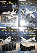 4x Metal Earth- CH-47 Chinook/B-17 Flying Fortress/F-15 Eagle/Mitsubishi Zero