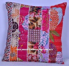 """Indian Floral Patchwork Kantha Quilted Cushion Cover Pillow Case ShamThrow 16"""""""