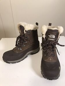 North Face Brown Leather Pink Insulated Primaloft Waterproof Snow Boots Sz 9.5