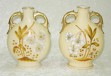 ANTIQUE PAIR VICTORIA CARLSBAD AUSTRIA WHITE JONQUIL DAFFODIL SMALL PILLOW VASES
