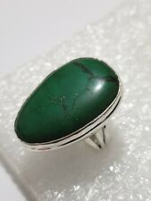 Chunky Real Natural Turquoise Ring marked 925 Solid Silver ring Size: P~P1/2