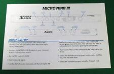 Original Alesis MicroVerb III Quick Setup Card - 1990