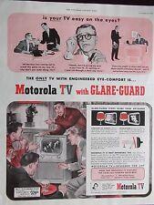 "1951 Motorola TV With Glare-Guard Big 17"" Screen Mahogany Console Advertisement"