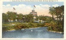 OLD POST CARD USA ETATS-UNIS SARATOGA NY city park grand union hotel
