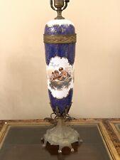 Antique French Porcelain Nude Cherub Putti Tall Lamp