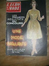 Echo de la mode N° 51 1961 Patron Mode vintage Couture Robe Noël Lamé brillante