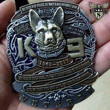 "K-9 CANINE 75TH ANNIVERSARY 1942-2017 MILITARY 2.5"" CHALLENGE COIN"