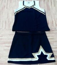"Adult Black Gold White Cheerleader Uniform Top Skirt 38-40/32-33"" Cosplay Goth"