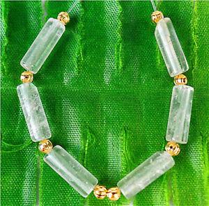 6Pcs 13x5mm Natural White Crystal Circular Tube Height Holes Bead BT90217