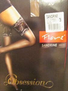 FIORE SANDRINE STAY UP THIGH HIGH STOCKINGS FINE EUROPEAN  3 SIZES COLOR SAND