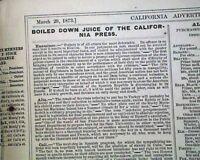 Rare SAN FRANCISCO California Pacific Coast OLD WEST w/ Masthead 1873 Newspaper